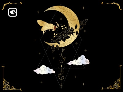 Bee on the Moon luxury graphic elements
