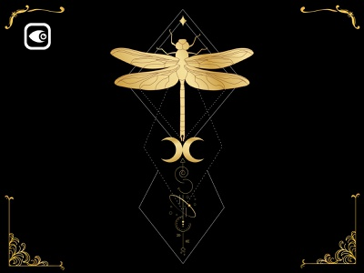 Golden Mystery Dragonfly vector moon illustration geometry