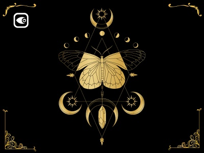 Mystery Butterfly design luxury graphic elements geometry vector moon illustration golden black alchemy spiritual golden butterfly