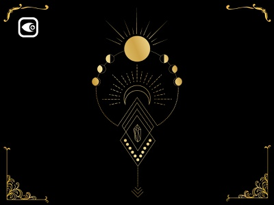 Moon and Sun Geometry vector moon spiritual alchemy geometry illustration luxury graphic elements moon illustration