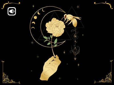 Bee on Floral moon floral spiritual alchemy illustration geometry luxury graphic elements