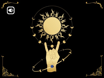 Hand and Sun moon illustration geometry luxury graphic elements