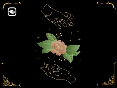 Hand Hold Floral geometry illustration alchemy luxury graphic elements spiritual art