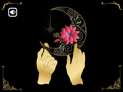 Double Hand on Moon design vector geometry illustration luxury graphic elements spiritual alchemy