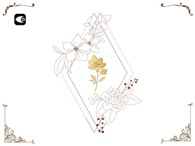Floral Frame illustration luxury graphic elements symbol spiritual art floral vector geometic geometry line art frame