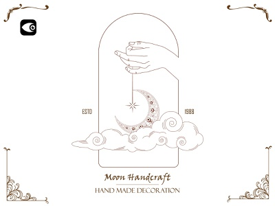 Hand Logo - Moon Handcraft moon line moon line