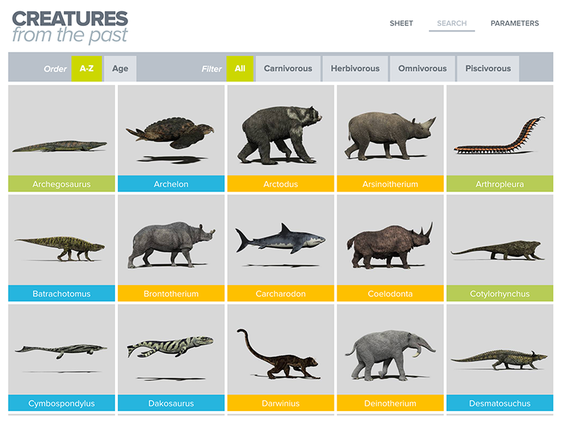 Creatures from the past multi-criteria search animal prehistoric app ipad