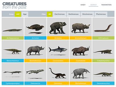 Creatures from the past multi-criteria search animal prehistoric app ipad