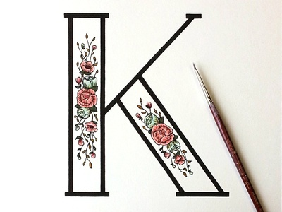 Floral K lettering hand lettering drop cap acrylic typography illustration floral design sign painting exhibit