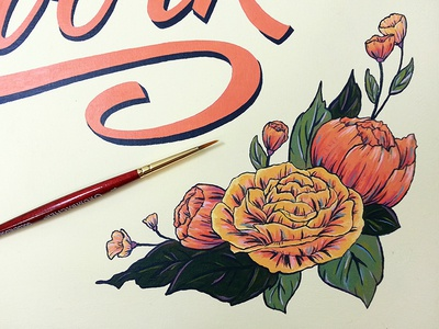 Hand painted sign florals