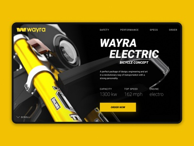 Wayra Electric bike 3 wayra typography tildaschool interface grid bike site desktop design concept web ux ui