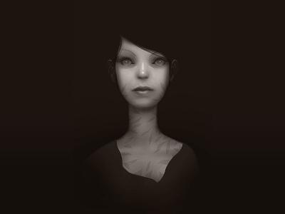 Little Emily face photoshop portrait illustration