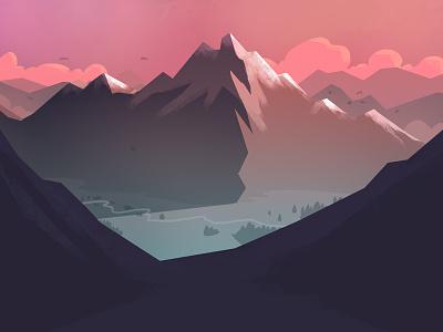 2018 01 15 digital illustration mountains