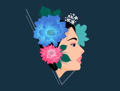 ffloral girl vector girl illustration flowers floral girl nature illustration flat design