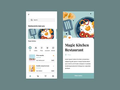 Food mobile app UI food illustration flat design mobile app ui