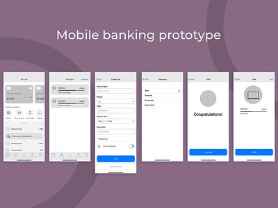 Mobile banking app layout prototype mobile bank beginner ux ui mobile app mobile figma designer design app design app