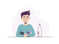 Running outta booze wfh covid19 wine man vector simple illustrator illustration