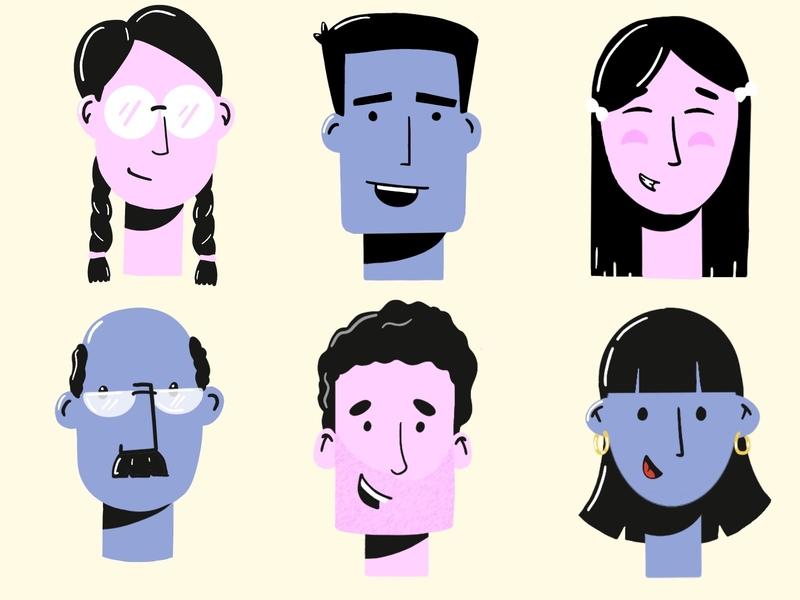 Faces :) procreate man woman ui illustration illustraion