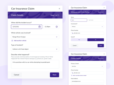 Claims Modals car insurance pattern input design system purple modal modals product design claim claims