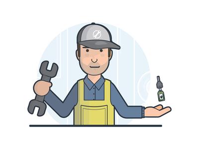 The Mechanic no oil sstains overalls stubble hat cap spanner keys mechanic