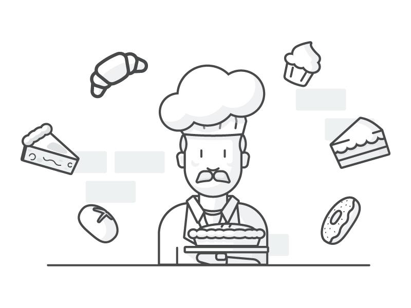Bakers Work line art illustration cook cooking baking cake croissant donut bun pie cupcake baker