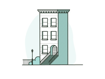 Building Hell's Kitchen, Manhattan manhattan illustration green architecture home city stoop building new york hells kitchen