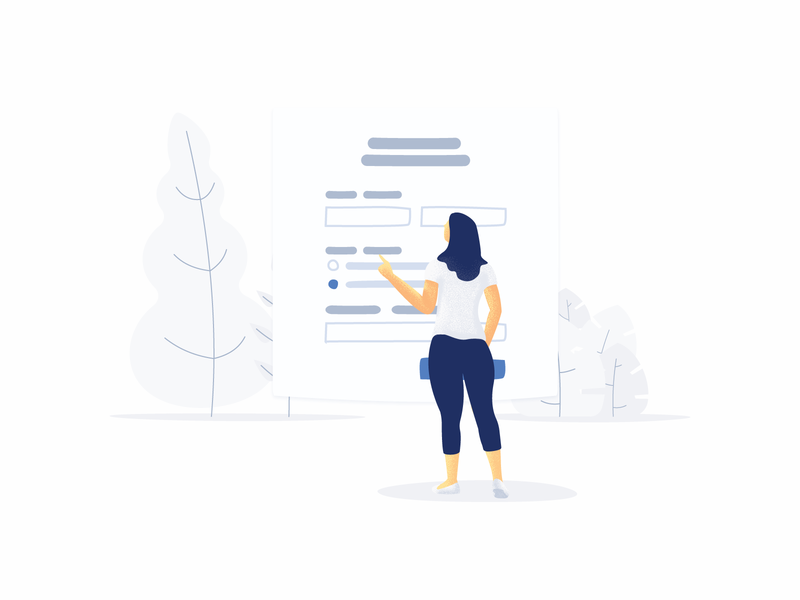 Filling out forms fun vector ui choosing woman bushes bush tree illustation ui illustration form ui form
