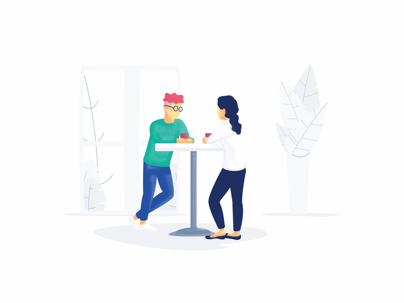 Meet up have a chat chat freelance work together woman man coffee shop potted plants plants tea coffee illustration ui illustration
