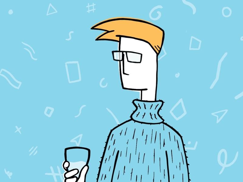 Woolly Sweater and Wine man glasses procreate app procreate pattern sweater wine glass woolly wool wine ui illustration illustration