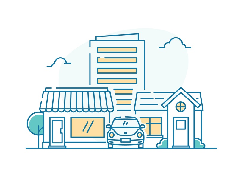 Insurance Product commercial icons icon trees plants insurance home house small business car building ui simple ui illustration illustration