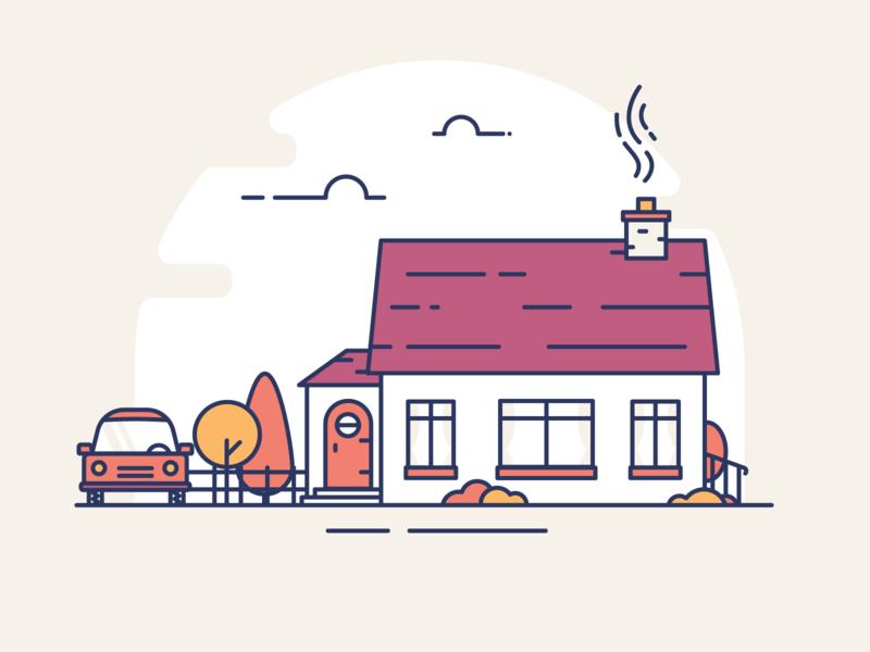Country Home insurance cottage plants outline simple illustrator illustration ui illustration bush tree car house home
