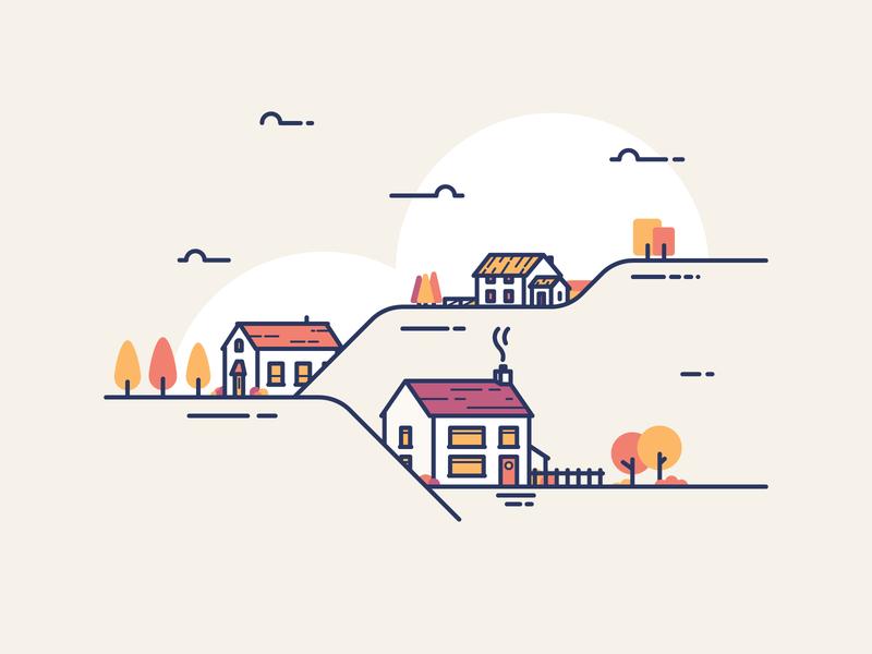 Autumn Hills icons buildings farm trees plants simple illustrator illustration ui illustration homes house autumn
