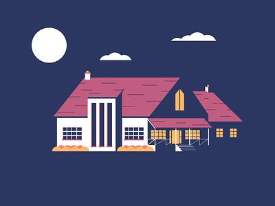 Farm House house illustration night ranch autumn color bushes dark farm home house simple illustrator illustration