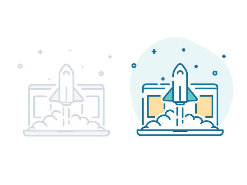 Get Started Rocket Launch icon get started spaceship space empty state laptop blast off launch rocket simple ui illustration illustration illustrator