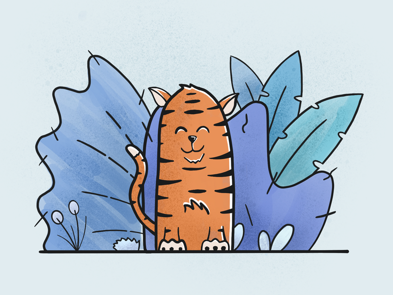 Tiger Style happy ui illustration plants trees bushes cat tiger simple procreate illustration