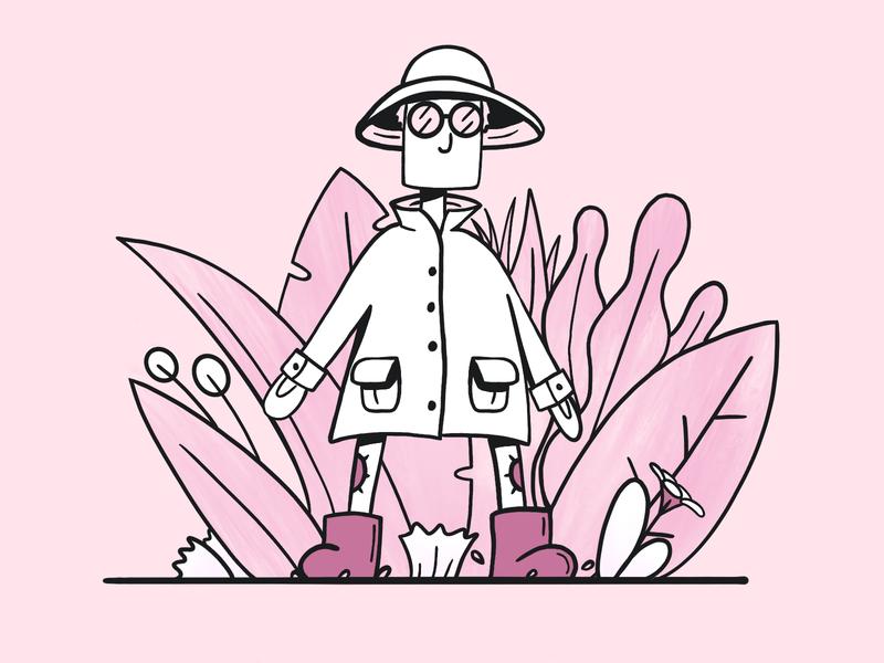 Pink Exploration flower procreateapp procreate man ui ui illustration simple glasses bush plants wild explorer exploration pink illustration