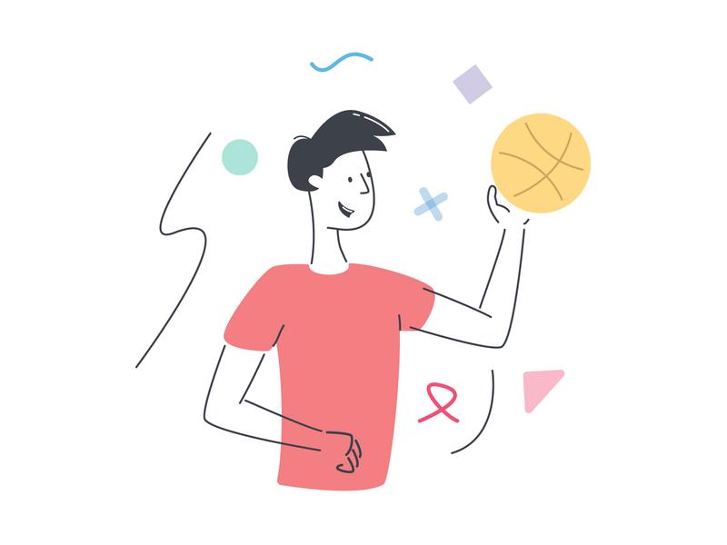 Playing Basketball training gym ball dribbble basketball sport man ui illustration vector simple illustration illustrator