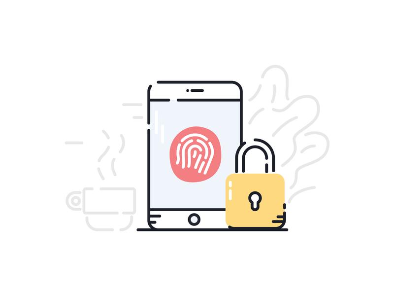 Phone Privacy ui illustration ui illustrator illustration padlock plants fingerprint coffee cup coffee cellphone phone lock security privacy