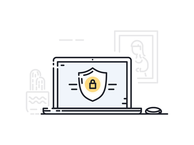Online Security apple mouse plant frame photo cactus security lock shield computer laptop ui illustration illustrator illustration