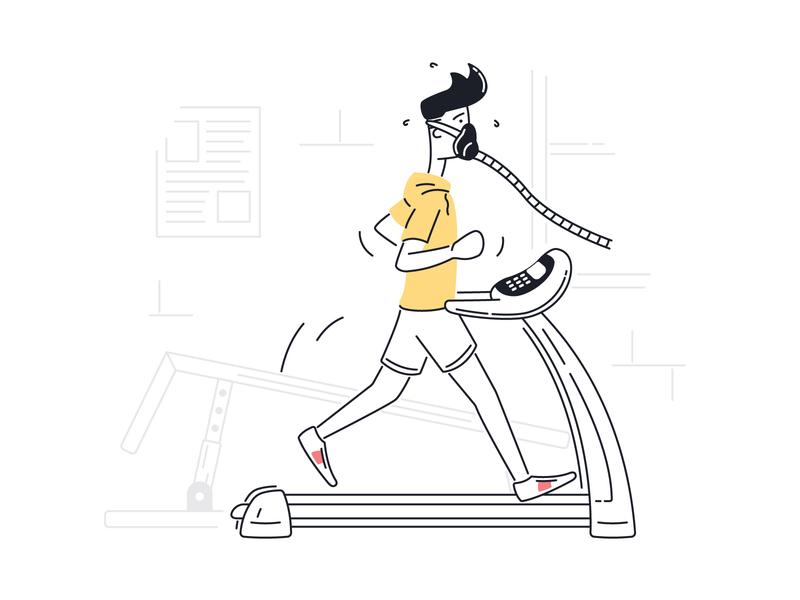 Testing Fitness on Threadmill testing mask jog training excercise fitness running treadmill gym illustrator ui illustration illustration