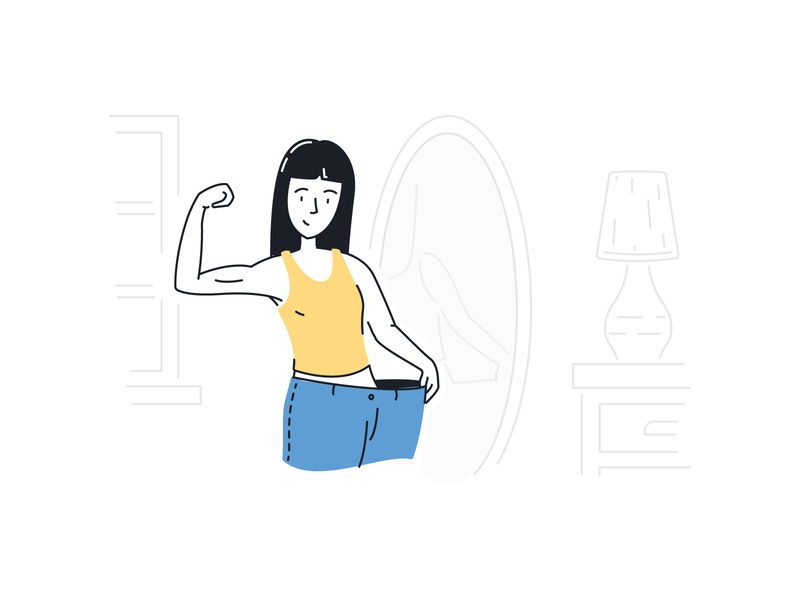 Weight Loss Jeans muscle mirror lamp jeans health fitness excercise weight weight loss woman ui illustration illustration