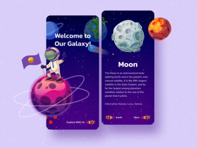 Galaxy Planet App astronout astronomy color mobile design mobile ui illustration uiux uidesign design ui stars moon earth planet earth planet galaxy