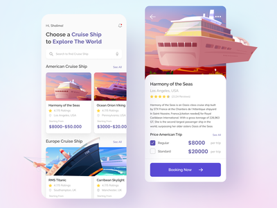 Cruise Travel App ship cruise ship ocean sea travel cruise colorful clean 2d color mobile app mobile design mobile ui illustration uiux uidesign design ui