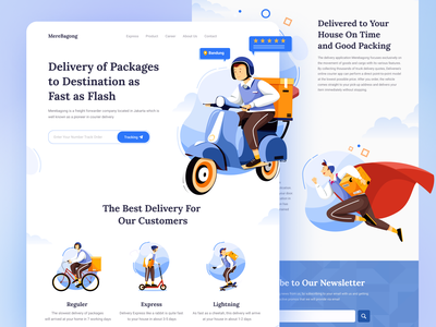 MereBagong - Delivery Landing page web typography vector delivery app landing page color illustration uiux uidesign ui design delivery