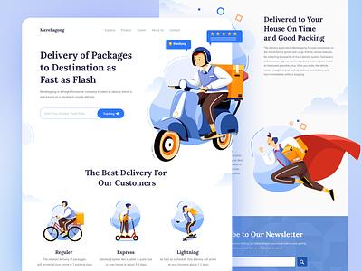 MereBagong - Delivery Landing page web typography vector delivery app landing page color illustration uiux uidesign ui design delivery