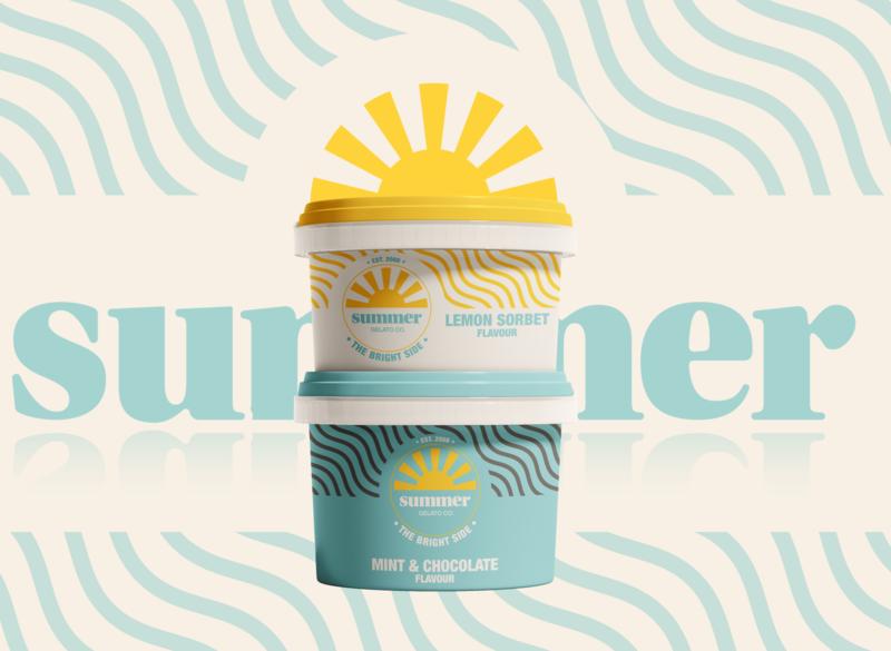 Summer Gelato Company logo vintage packaging design packaging design cup company business branding