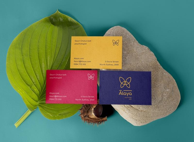 Alaya Brand Design - Business Cards business card design adobe illustrator photoshop logo psychology design business cards colourful branding branding brand merchandising brand identity brand design