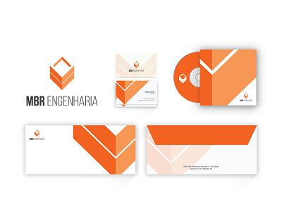 MBR Engenharia - Visual Identity logo branding construction orange card cover envelope paper print vector square block