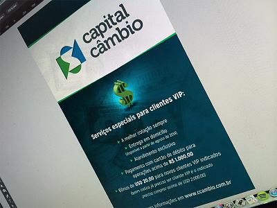 "Banner - ""Capital Câmbio"" banner dollar money halo dodge light effect shadow cyan institucional topics"