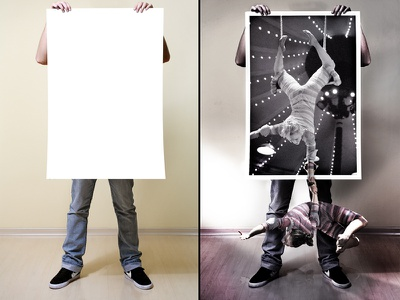"""""""Live Poster"""" photo manipulation poster light effects acrobat"""